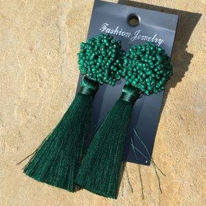 New! Large Green Boho Earrings Post Drop Tassels